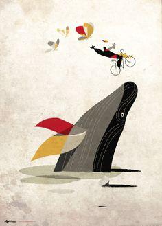 """Per un soffio le farfalle"" - digital illustration #bike #whale"