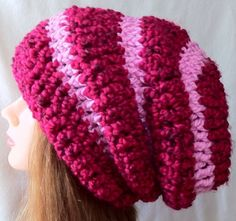 Slouchy Beanie Pink Crochet Hat Dream by YaxumiKaroDesings