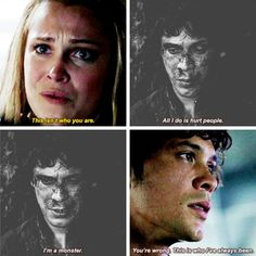 "Clarke: This isn't who you are. Bellamy: You're wrong. This is who I've always been, and I let you and Octavia and Kane convince me that we could trust these people when they have shown over and over who they are, and I won't let anyone else die for that mistake. #The100 3x05 ""Hakeldama"""