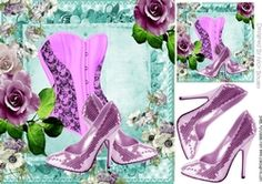 Pink sparkle shoes with basque and roses 8x8 on Craftsuprint - View Now!