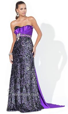 Purple A-Line/Princess Strapless Sequins Dark Prom Dress PD3B1B at Dressmini.com