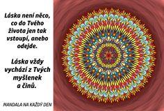 Mandala Láska vychází z Tvých myšlenek Motto, Outdoor Blanket, Tapestry, Symbols, Words, Creative, Mandalas, Hanging Tapestry, Tapestries