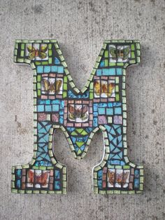 Items similar to Custom Mosaic Monogram- You pick the color, letter, and design on Etsy Monogram Letters, Monogram Initials, Letters And Numbers, Tile Art, Mosaic Art, Mosaic Tiles, Mosaic Crafts, Mosaic Projects, Letter A Crafts