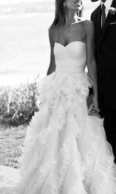 lovely ruffled wedding dress