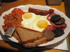 An Irish breakfast - you've had English and Scottish, now it's time to learn the Irish USP. That would be white pudding and soda bread.