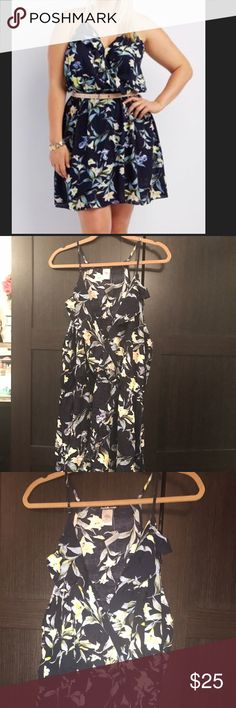 Charlotte Russe floral wrap dress NWT Charlotte Russe navy floral dress, cinches at the waist (BELT NOT INCLUDED) Charlotte Russe Dresses