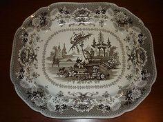 lg. brown transferware platter