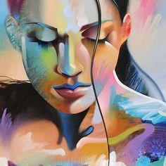 FIGURE étude #8 - tirage d'Art sur papier texturé ou toile - édition limitée de 295 Cette oeuvre figurative abstraite qui combine l'énergie au hasard d'une peinture abstraite et la pose tranquille de la figure féminine. À la main signée par l'artiste - Tim Parker ::: CINQ DIFFÉRENTES