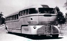 This is the famous Landliner built for Peninsula Bus Lines in 1946 by Roy Weber. It had two Ford V8 engines, one on the front bogie and one in the rear. All controls were hydraulically operated. After meeting operating resistance from most state authorities, including Victoria, it eventually went to the West Australian Government Railways but was eventually converted into a more conventional bus: