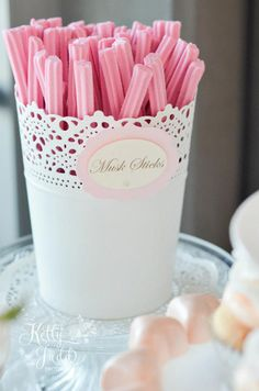 DIY - bucket from Ikea and musk sticks - beautiful for candy buffet!