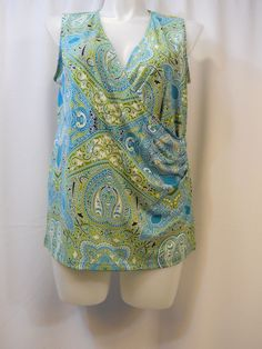 Jones NY Green Paisley Ruched Surplice Sleeveless Blouse Plus Size 1x #JonesNewYork #Blouse #Career