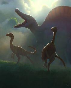 Ambush, by Aric Salyer Prehistoric Wildlife, Prehistoric Dinosaurs, Prehistoric World, Dinosaur Fossils, Prehistoric Creatures, Jurassic World Poster, Jurassic Park World, Dinosaur Drawing, Dinosaur Art