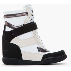 MARC BY MARC JACOBS Black & White Holographic Leather Sneaker Wedges ($330) ❤ liked on Polyvore