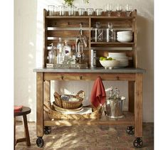Abbott Zinc-Top Island & Hutch for Patio | Pottery Barn. Great to use outside for a party!