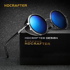 HDCRAFTER Fashion Retro Steampunk Sunglasses Women Men Vintage Round Metal Punk Mirror Gothic Sun Glasses oculos de sol feminino