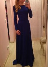 Amazing Long Sleeve Blue Round Neck High Waist Dress