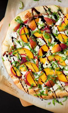 Unexpected Pizza Toppings on Mom.me, like this Peach and Prosciutto Pizza  from Cooking Classy.