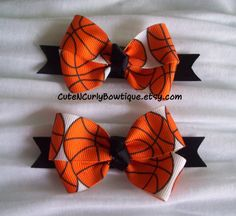 Basketball Girls Hair bow Orange Black White by CuteNCurlyBowtique