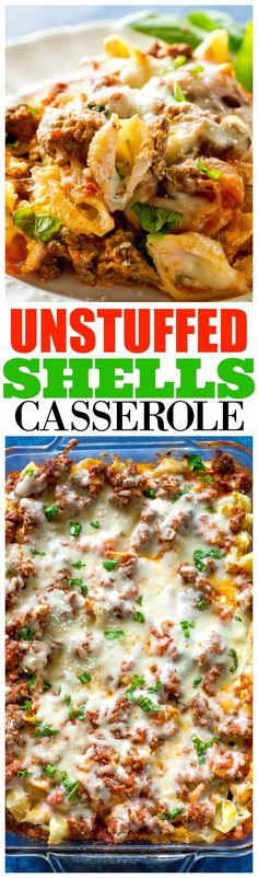 This Unstuffed Shells Casserole is all the flavors of stuffed shells without all the work. This can be made ahead of time and even frozen for an easy dinner. for dinner for two main dishes Casserole Dishes, Casserole Recipes, Pasta Casserole, Doritos Casserole, Tofu, Think Food, Stuffed Pasta Shells, Ground Beef Recipes, How To Cook Pasta