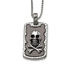 Chisel Skull & Crossbones IP Black Plated Dogtag Pendant Inch Necklace, Men's