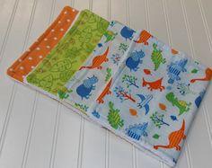 Dinosaur Baby Burp cloths/Minky /Flannel/ by DarlenesNeedlesnPins