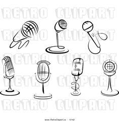 Cartoon Radio Black and White | Microphone Clip Art Black and White