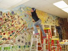Nan Johnson, are you on Pinterest? If I don't die before I finish our current mural, let's do this to our elementary halls! K? (Just kill me now.)