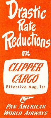 Vintage Airline Luggage Label PAN AM CLIPPER CARGO Drastic Rate Reductions