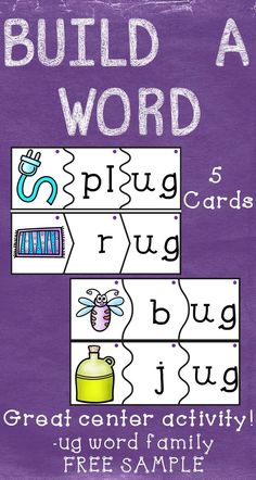 Onset and Rime Build a Word Puzzle FREEBIE- short u- ug word family Word Family Activities, Reading Activities, Literacy Activities, Literacy Centers, Early Literacy, Kindergarten Freebies, Kindergarten Reading, Teaching Reading, Learning Apps