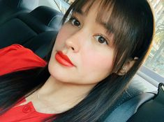 Thinking of getting bangs rn 🤔 Liza Soberano Instagram, My Ex And Whys, Lisa Soberano, Heart Evangelista, Asian American, Playboy Playmates, Red Shirt, Just The Way, Red Lips