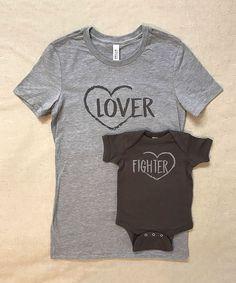 Heather Gray 'Lover' & 'Fighter' Tee Set - Infant Toddler Girls & Women