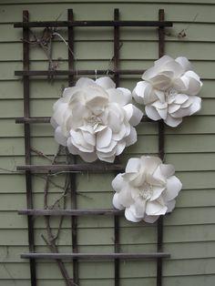 paper flowers on trellis
