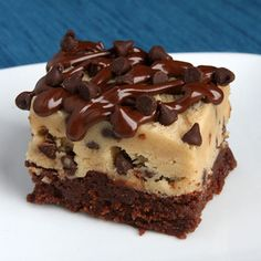 Chocolate Chip Cookie Dough Brownies...a fudgy brownie with a thick layer of cookie dough stacked on top (Eggless, of course!)  Yummy!  YUM!!!!  I need my sis to try this one...