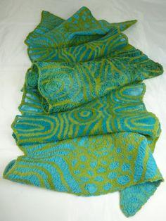 https://flic.kr/p/rQmcLt | Nuno Pine Needles Scarf 1 | Nuno felted scarf made at…