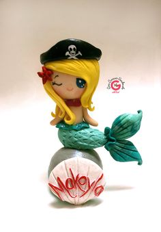 mermaid cake topper mermaid pirate by GinaCarrascoHandmade on Etsy