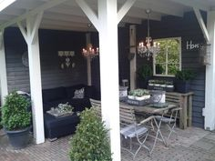 outdoor backyard room - love this Garden Room, Outdoor Decor, Outside Living, Outdoor Rooms, House Exterior, Garden Buildings, Porch And Balcony, Outdoor Dining, Outdoor Design
