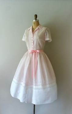 Vintage 1950s Jerry Gilden dress, pale pink light-weight cotton body with beautiful embroidered detail and a contrasting white cotton hem, classic