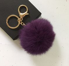 New! Deep purple Fur pom pom keychain fur ball bag pendant charm - $14.39 USD