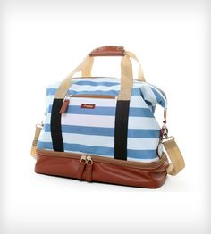 made by Po Campo: a nicely sized carryall weekender bag with a light blue nautical stripe.