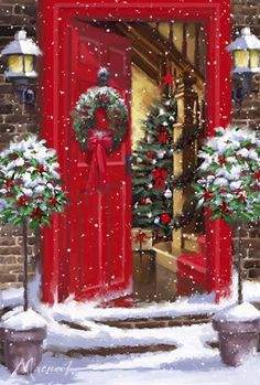 A red door easily becomes a Christmas door! Christmas Scenes, Noel Christmas, Vintage Christmas Cards, Little Christmas, Christmas Pictures, Winter Christmas, Outdoor Christmas, Country Christmas, Christmas Bible