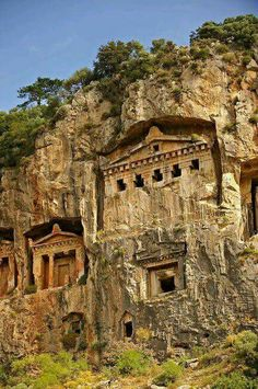 Hellenistic temple-fronted Tombs,    Dalyan, Turkey