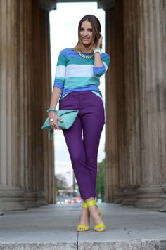 Pants - zara, striped shirt/clutch - hallhuber, shoes/necklace - h, watch - Purple Jeans Outfit, Orange Pants Outfit, Colored Pants Outfits, Purple Outfits, Purple Pants, Colourful Outfits, Lila Outfits, Outfits Mujer, Outfits Damen
