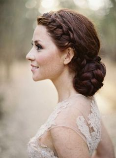 braided bridal bun hairstyle for wedding