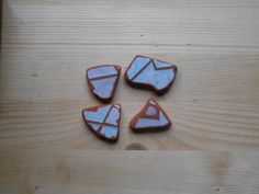 Sea pottery jewelry supplies 4 pieces fantasy sea pottery