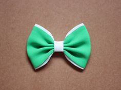 #hairbows green and white soft fabric hair bow clip