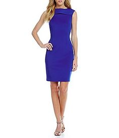 8e90aa07f08 Calvin Klein Keyhole Slit Scuba Sheath Dress Tight Dresses
