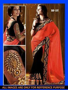 New Red Georgatte Saree Indian Party Wear Designer Wedding Sari @ just 49.99 $