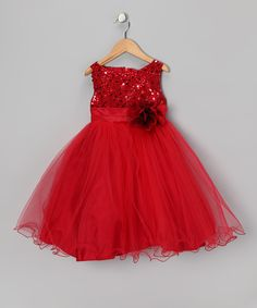 Red Sequin Sheer Dress - Toddler & Girls   Daily deals for moms, babies and kids