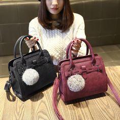 828f2d7e3a Fashion handbags Cross Body Messenger Purse leisure hair ball ornaments  flap New