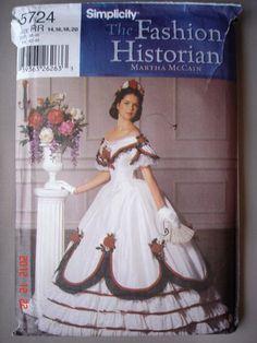 Beautiful Civil War Gown Simplicity Sewing Pattern 5724 Scarlett O'Hara Uncut | eBay